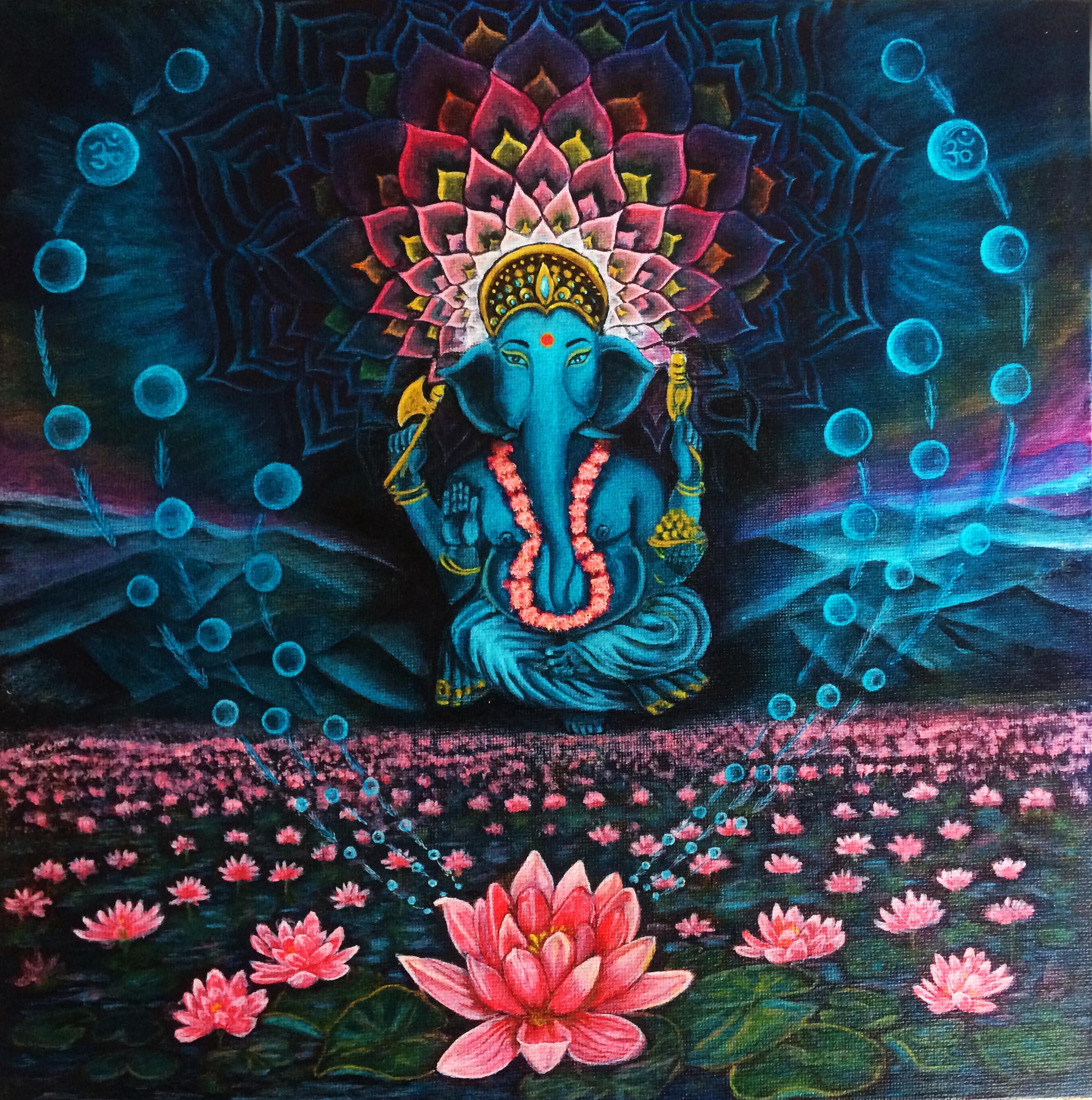 Ganesha on Lotus Mountain - Poster, Fine Art Print, Canvas Print